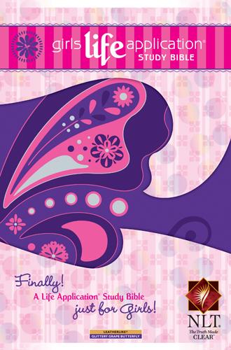 nlt girls life application study bible glitter grape butterfly