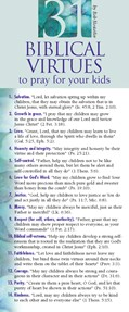 Cover: 31 Biblical Virtues to Pray for Your Kids 50-pack