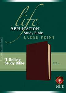 Life Application Study Bible NLT, Large Print: Bonded Leather, Burgundy/maroon