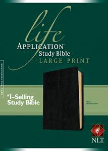 Life Application Study Bible NLT, Large Print: Bonded Leather, Black