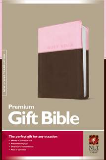 Premium Gift Bible NLT: LeatherLike, Pink/Dark Brown TuTone