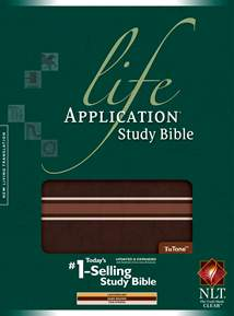Life Application Study Bible NLT: Cloth: LeatherLike, Dark Brown w/Tan Stripes TuTone