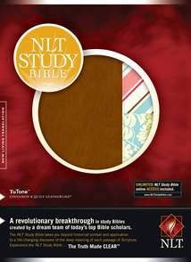 NLT Study Bible: LeatherLike, Cinnamon/Quilt Quilt TuTone, Red Letter