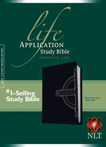 Life Application Study Bible NLT, Personal Size: LeatherLike, Black TuTone Celtic Cross Edition