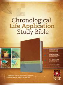 NLT Chronological Life Application Study Bible: LeatherLike, Brown/Green/Dark Teal TuTone