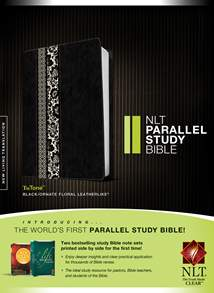 NLT Parallel Study Bible: LeatherLike, Black/Ornate Floral Fabric Floral TuTone