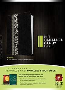 NLT Parallel Study Bible: LeatherLike, Indexed, Black/Ornate Floral Fabric Floral TuTone