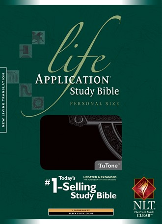Life Application Study Bible NLT, Personal Size: LeatherLike, Indexed, Black TuTone Celtic Cross Edition