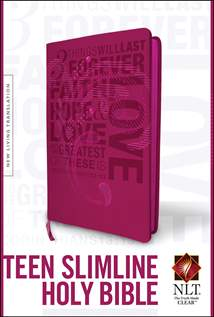 Teen Slimline Bible NLT: LeatherLike, Hot Pink
