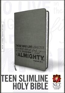Teen Slimline Bible NLT: LeatherLike, Charcoal