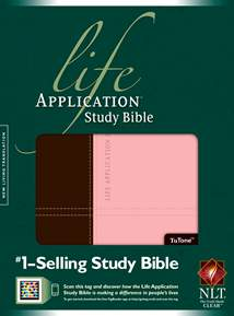 Life Application Study Bible NLT: LeatherLike, Dark Brown/Pink TuTone