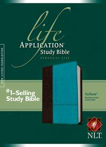 Life Application Study Bible NLT, Personal Size: LeatherLike, Dark Brown/Teal TuTone