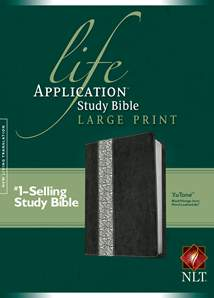 Life Application Study Bible NLT, Large Print: LeatherLike, Black/Vintage Ivory Floral Floral TuTone