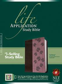 Life Application Study Bible NLT: LeatherLike, Dark Brown/Pink Flowers TuTone