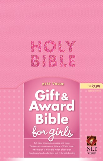 Gift and Award Bible NLT: Imitation Leather, Pink