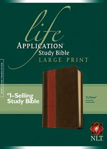 Life Application Study Bible NLT, Large Print: LeatherLike, Brown/Tan TuTone