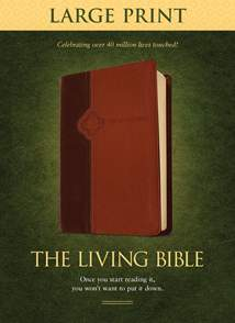 The Living Bible Large Print Edition: LeatherLike, Brown/Tan TuTone