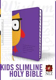 Kids Slimline Bible NLT: LeatherLike, Purple/Yellow Owl TuTone