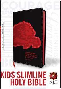 Kids Slimline Bible NLT: LeatherLike, Black/Red Lion TuTone