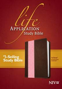 Life Application Study Bible NIV: LeatherLike, Dark Brown/Pink TuTone