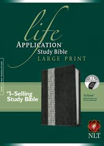 NLT Life Application Study Bible, Second Edition, Large Print: LeatherLike, Indexed, Black/Vintage Ivory Floral Floral TuTone, Red Letter