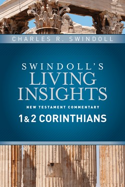 Front cover image of Chuck Swindoll's Living Insight 1 and 2 Corinthians commentary book, where he explores spiritual gifts as talked about in the Bible.
