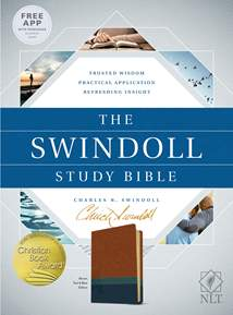 The Swindoll Study Bible NLT: LeatherLike, Brown/Teal TuTone