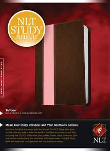 NLT Study Bible: LeatherLike, Dark Brown/Pink TuTone