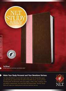 NLT Study Bible: LeatherLike, Indexed, Dark Brown/Pink TuTone