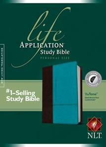 Life Application Study Bible NLT, Personal Size: LeatherLike, Indexed, Dark Brown/Teal TuTone