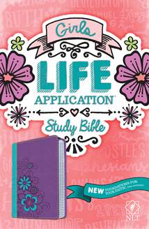 Girls Life Application Study Bible NLT: LeatherLike, Purple/Teal TuTone