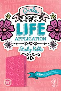 Girls Life Application Study Bible NLT: LeatherLike, Pink/Glow