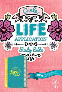 Girls Life Application Study Bible NLT: LeatherLike, Teal/Yellow