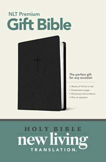 Premium Gift Bible NLT: LeatherLike, Classic Black, Red Letter
