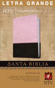 Santa Biblia NTV, Edición personal, letra grande: LeatherLike, Indexed, Pink/Brown, Red Letter