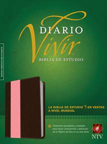 Biblia de estudio del diario vivir NTV: LeatherLike, Indexed, Brown/Pink, Red Letter