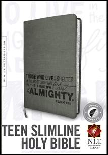 Teen Slimline Bible NLT: LeatherLike, Indexed, Charcoal Index