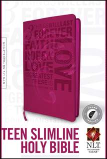 Teen Slimline Bible NLT: LeatherLike, Indexed, Hot Pink Index