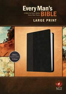 Every Man's Bible NLT, Large Print: LeatherLike, Black/Onyx TuTone