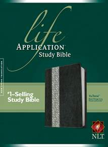 Life Application Study Bible NLT: LeatherLike, Black/Vintage Ivory Floral TuTone