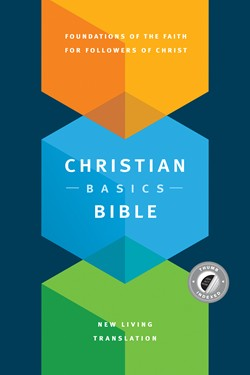 Front cover image of the Christian Basics Bible in the New Living Translation. This Bible is very helpful for new believers that want to get into Bible study.