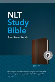 NLT Study Bible: LeatherLike, Indexed, Brown/Slate TuTone, Red Letter