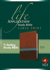 Life Application Study Bible NLT, Large Print: LeatherLike, Heather Blue/Brown