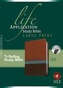 Life Application Study Bible NLT, Large Print: LeatherLike, Indexed, Heather Blue/Brown