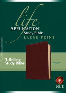 Life Application Study Bible NLT, Large Print: LeatherLike, Brown