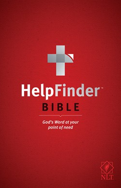 Front cover image of the HelpFinder Bible, New Living Translation. This Bible is good for new believers because it answers many specific questions most new believers have about Christianity.