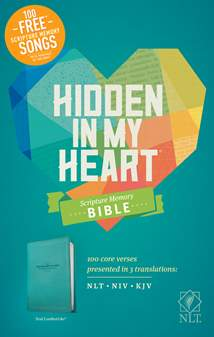 Hidden in My Heart Scripture Memory Bible NLT: LeatherLike, Teal