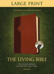The Living Bible Large Print Edition: LeatherLike, Indexed, Brown/Tan TuTone