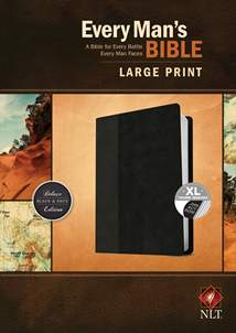Every Man's Bible NLT, Large Print: LeatherLike, Indexed, Black/Onyx TuTone