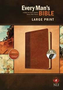 Every Man's Bible NLT, Large Print: LeatherLike, Indexed, Brown/Tan TuTone